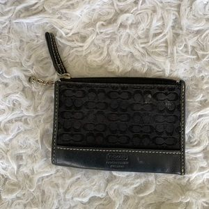 COACH black zippered card holder with chain